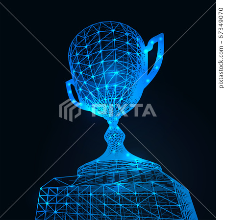First place award cup with polygonal grid on dark background. Vector 67349070
