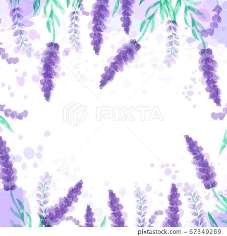 Lavender background with flowers. Watercolor imitation design with paint splashes illustration 67349269