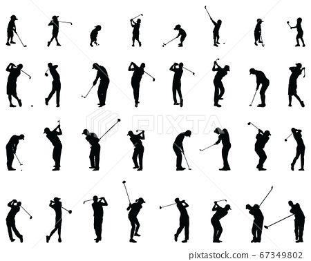 Black silhouettes of golf players on a white background 67349802