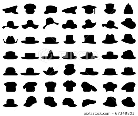 Black silhouettes of various caps and hats on a white background 67349803
