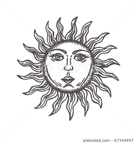 Sun with face stylized as engraving Hand drawn Vector astrology symbol 67349897