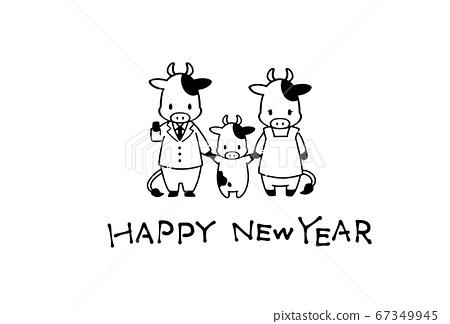 2021年新年賀卡材料的簡單可愛牛的插圖 67349945