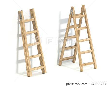 Wooden ladder 3D 67350754