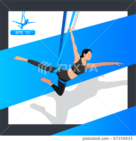 Young girl doing fly yoga in a hammock. 67359833
