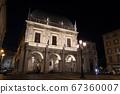 Night cityscape in historic old town of Brescia, Italy 67360007