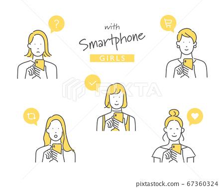 스마트 폰을 사용하는 여성의 일러스트 소재 67360324