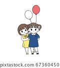 一个女孩害羞的朋友的插图 67360450
