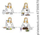 아침 점심 저녁 식사를하는 여성 67360670