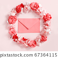 Red envelope in a frame of pink flowers over a 67364115