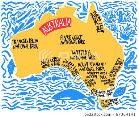 Vector hand drawn stylized map of Australia. 67364141