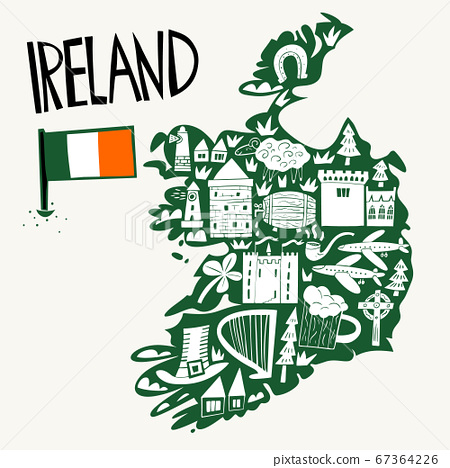 Vector hand drawn stylized map of Ireland. Travel 67364226