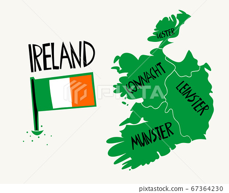 Vector hand drawn stylized map of Ireland. Travel 67364230