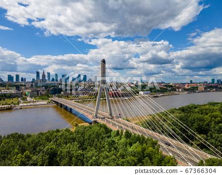 Warsaw skyline behind the bridge, Swietokrzyski 67366304