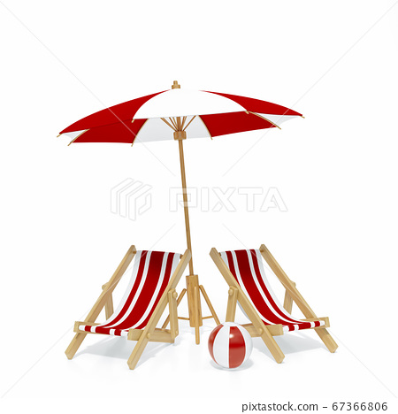Beach chair, Deck chair with red and white stripes isolated on white background 3d rendering. Sunchair, wooden beach lounge chair with umbrella and volleyball. 3d illustration Summer minimal concept 67366806