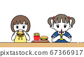 一个女孩吃汉堡的插图 67366917
