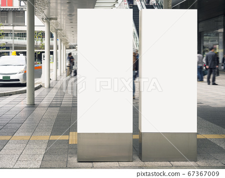 Mock up Banners Blank Media sign stand Public building 67367009