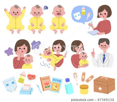 아기를 돌봐 엄마와 의사 세트 주 선 없음 67369138