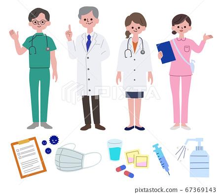 의료 종사자의 남녀와 의료품 세트 주 선 없음 67369143