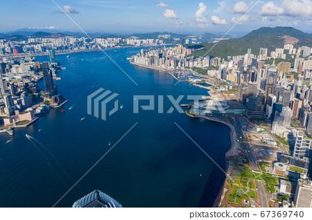Panorama aerial view of Hong Kong City 67369740