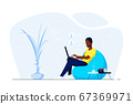 Young black man at home sitting in chair bag and 67369971