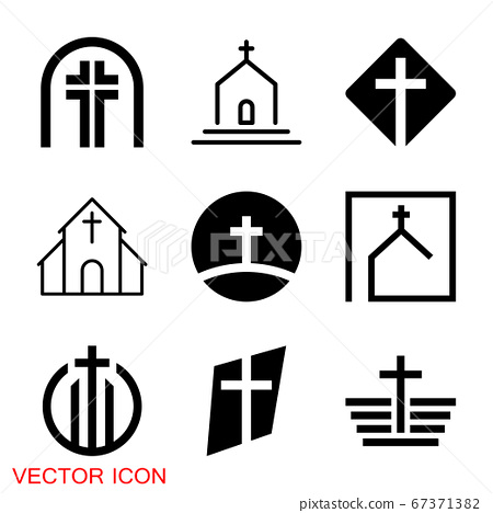 Church vector icons of religious christianity signs and symbols 67371382