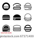 Burger icon, flat design Hamburger web icon. vector illustration 67371400