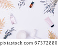 Flat lay frame of skin care cosmetic products, 67372880