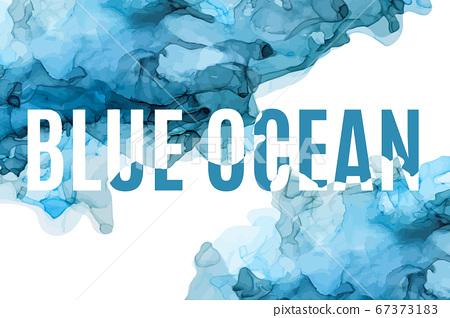 Blue ink background, wet ink, hand drawn vector  67373183