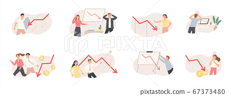 Finance decrease and crisis graph. Falling down business chart arrow, economic budget collapse, market risks and panic people vector set 67373480