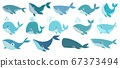 Cute whales. Marine life animals, underwater blue whales, childrens icons for stickers, baby shower, books. Simple cartoon vector set 67373494