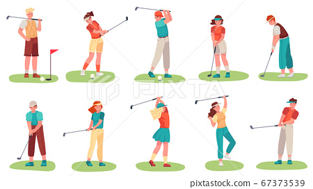 Golf playing. Men and women training with golf clubs on green grass, sport hobby players golfer in uniform, cartoon set vector illustration 67373539