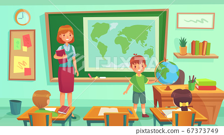 Geography class, teacher and pupils in room. Schoolboy showing country on globe. Woman teaching geography lesson 67373749
