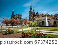 Dresden, Germany. Spring scene in historical cityscape, residence kings of Saxony Dresden Castle, Katholische Hofkirche in spring season 67374252