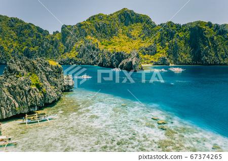 Aerial view of Miniloc island from Shimizu . Crystal clear sea. Bacuit Bay, El Nido, Palawan, Philippines 67374265