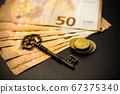 golden coins with key, key to money, om dark 67375340