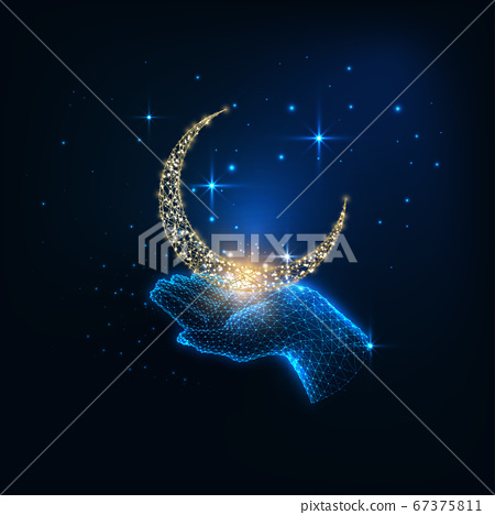 Futuristic mystic concept with glowing low polygonal female hand holding golden crescent moon 67375811