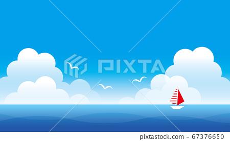 仲夏的海景與藍藍的天空的插圖 67376650