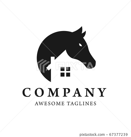 simple Horse and house logo design template,This logo is very suitable for Real Estate, Interior, Art Studio, etc.	 67377239