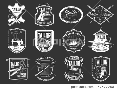 Tailor sewing icons, atelier and dressmaker shop 67377268
