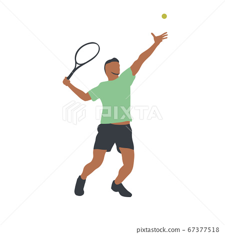 Tennis player isolated vector drawing, abstract silhouette. Forehand. Individual sport, active people 67377518