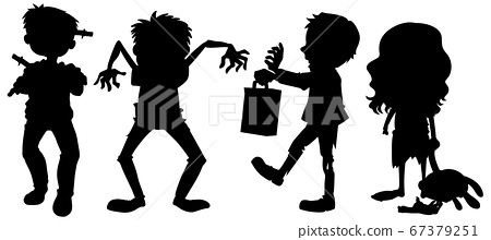 Zombies in silhouette in cartoon character on 67379251