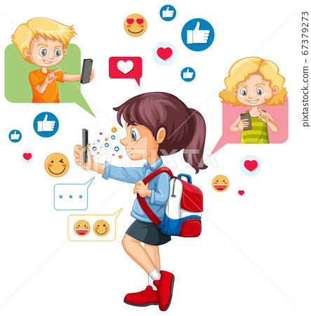 Girl using smart phone with social media icon 67379273
