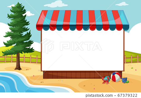Blank banner with awning in beach scene 67379322