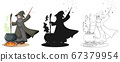 Wizard in color and outline and silhouette cartoon 67379954