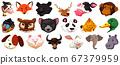 Set of different cute cartoon animals head huge 67379959