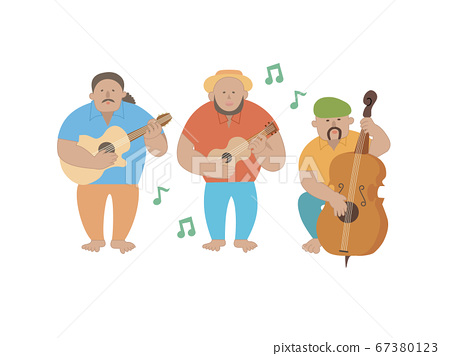 夏威夷四弦琴,彈吉他和低音提琴的音樂家 67380123