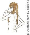 허리 낭비 머리로 고민하는 여성 67380163