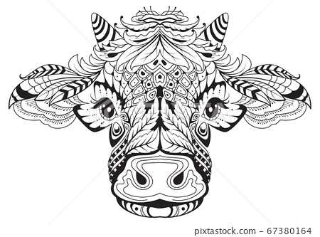 Cow head female symbol of 2021 tribal tattoo. Black white drawing from abstract pattern 67380164