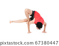 Young man practicing yoga on white background 67380447