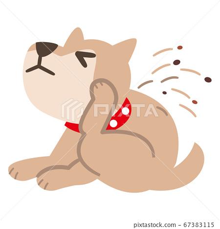 一隻狗抓它的身體的插圖 67383115